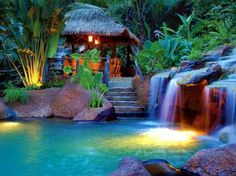 Forest bar - colorful, peaceful, stream, romantic, rest, forest, lights, plants, bar, calm, flowers, water, nature, hidden, trees, waterfall, beautiful, cascades, falling
