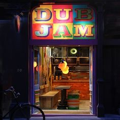 Dub Jam jerk, rum and reggae shack, exterior Caribbean Decor, Shop Facade, Surf Shack, Places To Eat, Reggae, Restaurant Bar, Night Life, Rum, Neon Signs