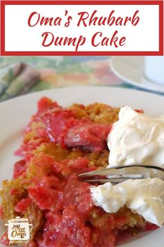 Absolutely delicious Rhubarb Dump Cake ... perfect springtime treat! Serve this with whipped cream or ice cream. PERFECT!