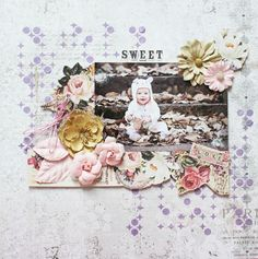 """I was inspired by the soft pink and cocoa colors in this month's PPP. I used these sweet photo of our oldest granddaughter. I mixed some purple Mica Powder with light paste and used a stencil on the background. I also sprinkled Light Pink Art Sugar onto some droplets made with crystal accents. I also did some fussy-cutting with a sheet of the luscious new """"Tales of You & Me"""" paper and finished with the alpha stickers from the collection kit! ~ Patti Hamil"""