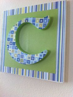 Monogrammed BLUE AND GREEN baby wall decor by GrannyAndCompany.com