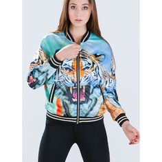 Eye Of The Tiger Bomber Jacket MULTI (51 AUD) ❤ liked on Polyvore featuring outerwear, jackets, multi, stripe jacket, lined bomber jacket, striped jacket, print bomber jacket and patterned bomber jacket