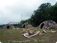 """yakut huts - In 1965, a farmer dug up the lower jawbone of a mammoth while in the process of expanding his cellar. Further excavations revealed the presence of 4 huts, made up of a total of 149 mammoth bones. These dwellings, dating back some 15,000 years, were determined to have been some of the oldest shelters known to have been constructed by pre-historic man, usually attributed to Cro-Magnon. the lion camp of the """"Mamoutoi"""". Ukranian river valley"""
