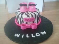 Zebra print with pink accents - baby shower cake