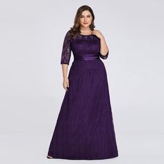 Plus size long sleeve lace formal mother of the bride dress Evening Dresses Plus Size, Evening Dresses For Weddings, Formal Dresses For Women, Formal Evening Dresses, Evening Gowns, Evening Party, Junior Homecoming Dresses, Pageant Dresses, Chiffon