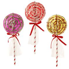 Shelley B Home and Holiday - RAZ Candy Sprinkles 10 inch Lollipop Ornaments, $28.50 (http://shelleybhomeandholiday.com/raz-candy-sprinkles-10-inch-lollipop-ornaments/)