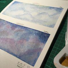 Skies watercolour painting