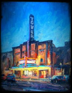 First Friday Art Walks are here! Both Downtown Bend & the Old Mill District have businesses open late...there's sensational local & national art & artists, musicians, performers, food & wine! ~ Art Walk Painting: Donald Yatomi, The Tower Theatre #InBend #DowntownBend #BendOregon #OldMillDistrict