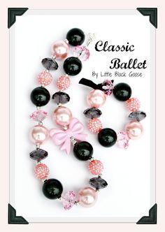 Classic Ballet Pink and Black Chunky Pearl Bubblegum Beaded Girl's Bracelet.