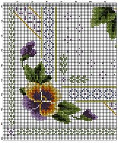Kreuzstich Pansies, Cross Stitch Patterns, Needlework, Embroidery, Crossstitch, Jewellery, Ideas, Crochet Trim, Tablecloths