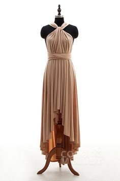 Timeless+Asymmetrical+Natural+High-Low+Knitted+Fabric+Desert+Dust+Sleeveless+Convertible+Bridesmaid+Dress+Draped+COEH16001