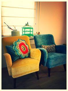 Upholstered chairs in velvet