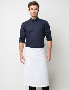 Simple waiter uniform with no tie and white half apron.