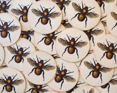 Stickers Bees Vintage Style Envelope Seals Party by bljgraves, $5.00