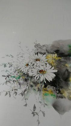 Coffee Painting, Ink Painting, Watercolor Paintings, Chrysanthemum Drawing, Flower Watercolor, Chinese Painting, Planting Flowers, Daisy, Drawings