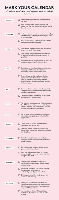 Book a Year's Worth of Appointments Without Stressing | Finally get organized this year with Real Simple's checklist of important to-dos.