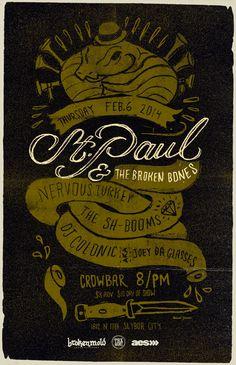 St Paul & The Broken Bones - Gigposter by Conrad Garner, via Behance