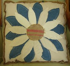 Reclaimed Feed Seed Coffee Sack Burlap Linen Pillow Floral Denim Zinnia 16 x 16 $45 by CURIOSITY. For You. Home. Garden., via Flickr