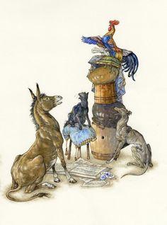 Fabulous Illustrations: Stories - The Bremen Town Musicians Niroot Puttapipat