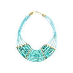 Turquoise Stone Crystal Statement Necklace, Blue | Find.com