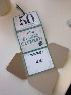 Hallöchen Mädels, für den 50. Geburtstag meines Schwagers habe ich Einladungen mit dem Envelope Punch Board gewerkelt. Von dem Farb...