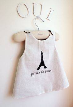 Girls Dress - Reversible Pinafore Top - French Style - Paris by Day & Night - Sizes for babies, girls and toddlers from 6 months to 5Y
