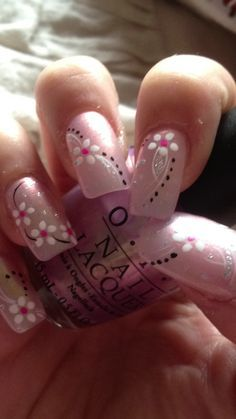 Nail art design manicure fingers design art nail nails pink white black flower flowers spring summer