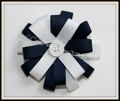 Navy blue and white loopy flower $3.00