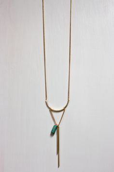 """Alina // Long Gold Statement Necklace // A trendy look, but a timeless piece of jewelry...an artifact from YOUR ADVENTURE // Gypsy Boho Festival Style Necklace // 14kt Gold Plated Brass Necklace // U Shaped Design wrapped in Ivory Thread // Turquoise-Blue Bohemian Wood Bead Graduated Bar Drop Style, 2"""" + 3"""" long Bars // 34"""" Long Necklace // Ships for FREE // artifact: ADVENTURE // jewelry for adventurers"""