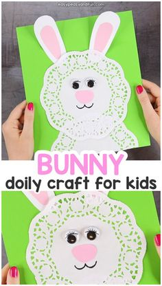Doily Bunny Craft. Simple Easter Craft for Kids.