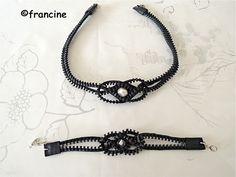 FRANCINE BRICOLE : Collier et bracelet récup' grosse fermeture éclair...                                                                                                                                                                                 Plus