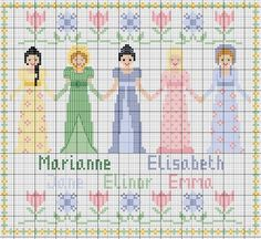 Jane Austen cross stitch chart