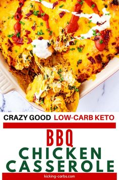 This Low Carb Keto BBQ Chicken Casserole is madly addictive! Tangy BBQ sauce is blended with ranch dressing, cream cheese, and smoky paprika, then tossed with bacon, chicken, and spinach. Top it off with cheddar cheese, and you have a family-friendly casserole that is nothing short of spectacular. #bbq #ranch #chicken #bacon #casserole #keto Bbq Chicken, How To Cook Chicken, Chicken Bacon, Ranch Chicken Casserole, Keto Chicken, Rotisserie Chicken, No Carb Recipes, Healthy Recipes, Low Carb Chicken Recipes