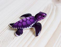 purple baby sea turtle figurine by byrdis on Etsy