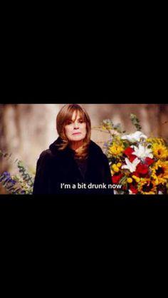 Sue Ellen at JR's funeral