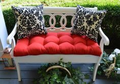 Indoor / Outdoor Cushion 3 Pc Set For Bench / Swing / Glider - Red Tufted…