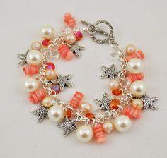Beach Bracelet Starfish Charm Bracelet Shell by JAMJewelryShop, $28.00
