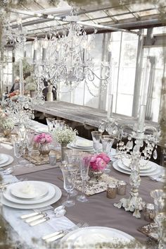 could do this minus the chandelier  add crystal bobeches to our crystal candlesticks