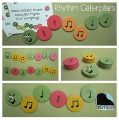 FREE DOWNLOAD - pianoanne: Caterpillar Rhythms - GREAT manipulatives - Make 2/4, 3/4, 4/4 caterpillars - These are great for any of the other caterpillar rhythm ideas that you find on Pinterest!