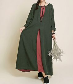 Fabrics;Cotton, linen Color; Dark blue, dark green  Size  M; Shoulder 37cm / 14  Bust 104cm / 41  Sleeve 47cm / 18.3  Waist 120cm / 47  skirt length 108cm / 42  Hem 246cm / 96      Have any questions please contact me and I will be happy to help you.