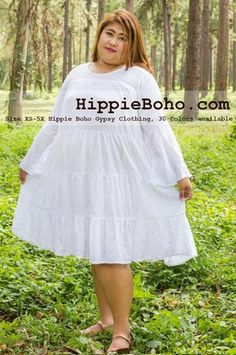 - Plus Size Big Size Curvy Hippie Boho Bohemian Gypsy White Peasant Bell Long Sleeve Plus Size Sundress Tiered Mini Skirt Plus Size Sundress, Plus Size Dresses, Plus Size Outfits, Plus Size Bohemian Clothing, Gauze Clothing, Plus Size Patterns, Gauze Dress, Winter Outfits Women, Plus Size Women
