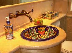 Eclectic Bathroom : Colored Sinks Poured Concrete Counters Bowl ...