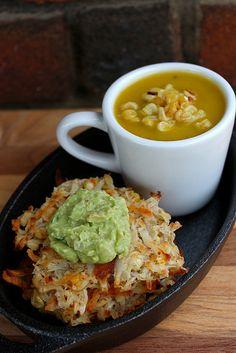Roasted Pumpkin & Poblano Corn Soup with Baked Corn-Potato Latkes # ...