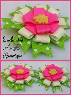 Ribbon Flower Set by Enchanted Angels Boutique… Handmade Hair Bows, Diy Hair Bows, Diy Bow, Ribbon Flower, Fabric Flowers, Ribbon Bows, Ribbons, Angels Boutique, Boutique Hair Bows