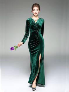 NapSwan- Dark Green Sexy V-neck Front Split Long Sleeve Wrap Evening Dress - NapSwan