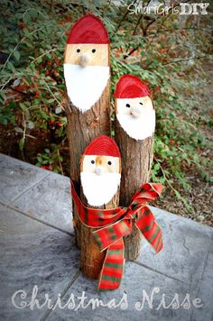 Awesome DIY Christmas Home Decorations and Homemade Holiday Decor Ideas - Quick and Easy Decorating ideas, cool ornaments, home decor crafts and fun Christmas stuff  | Crafts and DIY projects by DIY Joy  |  Danish Niss Logs Santa  |  http://diyjoy.com/diy-christmas-decor-holiday-decorations