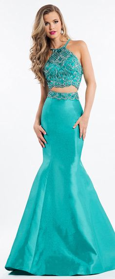 Noble Satin Halter Neckline Cut-out Two-piece Mermaid Prom Dress With Beadings