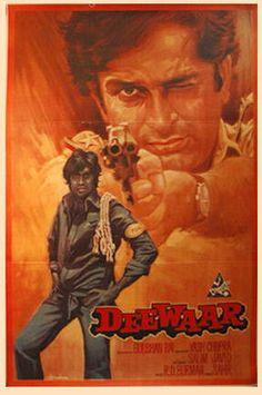 Deewaar: Amitab Bacchan and Shashi Kapoor starrer Indian Classic Old Bollywood Movies, Bollywood Posters, Vintage Bollywood, Bollywood Party, Old Film Posters, Cinema Posters, Movie Poster Art, Retro Posters, Vintage Posters