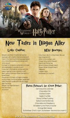 THE WIZARDING WORLD OF HARRY POTTER – DIAGON ALLEY New Offerings Include Authentic British Fare, Magical Elixirs – and Even Butterbeer-Flavored Ice-Cream