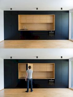 Here are the Black White Wood Kitchens Design Ideas. This post about Black White Wood Kitchens Design Ideas was posted … White Wood Kitchens, Cool Kitchens, Kitchen White, Modern Kitchen Design, Interior Design Kitchen, Kitchen Designs, Minimal Kitchen, Studio Interior, Modern Design